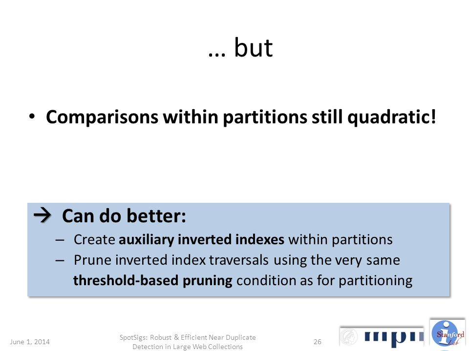 … but Comparisons within partitions still quadratic.