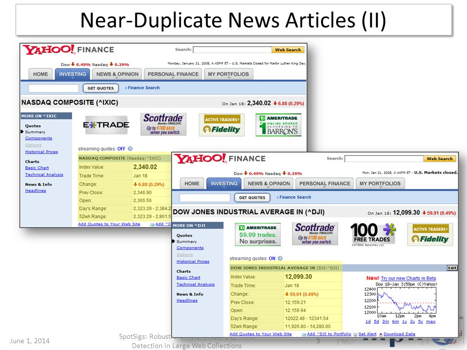 Near-Duplicate News Articles (II) June 1, 20143 SpotSigs: Robust & Efficient Near Duplicate Detection in Large Web Collections
