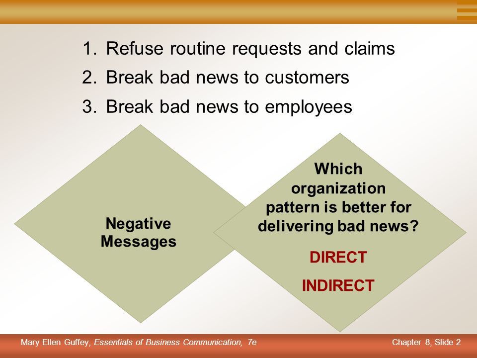 Chapter 8, Slide 2 Mary Ellen Guffey, Essentials of Business Communication, 7e 1.Refuse routine requests and claims 2.Break bad news to customers 3.Br