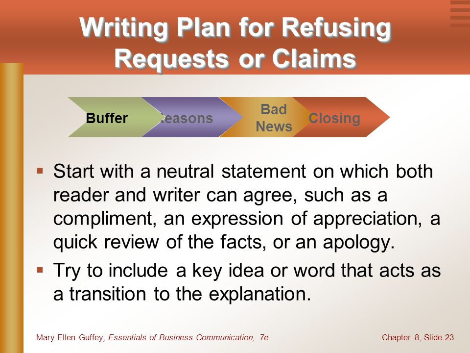 Chapter 8, Slide 23Mary Ellen Guffey, Essentials of Business Communication, 7e Writing Plan for Refusing Requests or Claims Start with a neutral state
