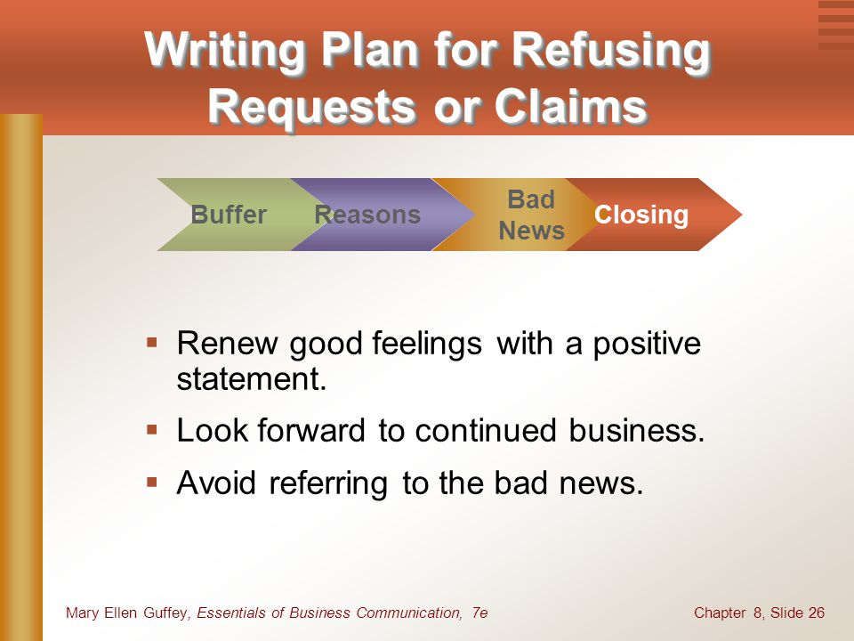 Chapter 8, Slide 26Mary Ellen Guffey, Essentials of Business Communication, 7e Renew good feelings with a positive statement. Look forward to continue