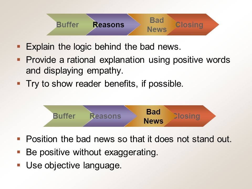 Chapter 8, Slide 35 Mary Ellen Guffey, Essentials of Business Communication, 7e Explain the logic behind the bad news. Provide a rational explanation