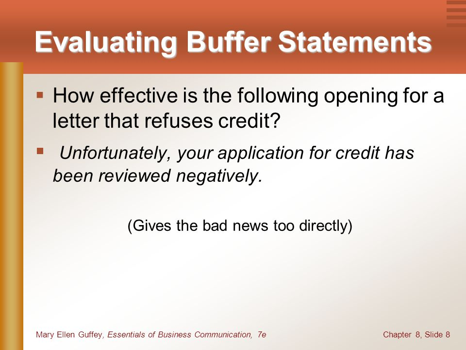 Chapter 8, Slide 8Mary Ellen Guffey, Essentials of Business Communication, 7e Evaluating Buffer Statements How effective is the following opening for