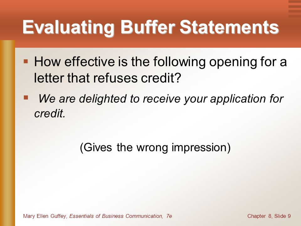 Chapter 8, Slide 9Mary Ellen Guffey, Essentials of Business Communication, 7e Evaluating Buffer Statements How effective is the following opening for