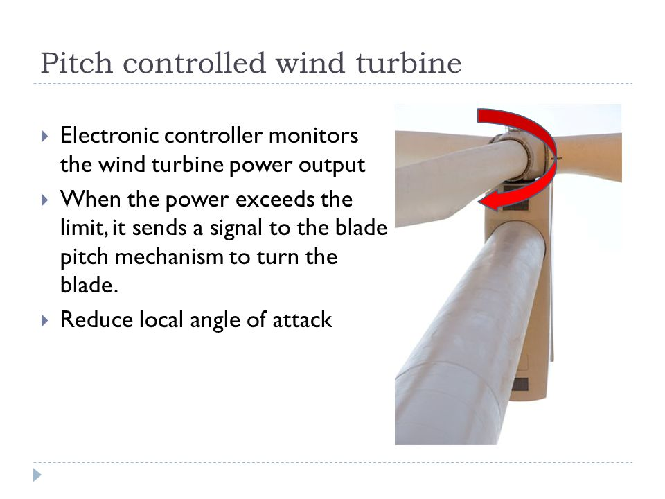 Pitch controlled wind turbine Electronic controller monitors the wind turbine power output When the power exceeds the limit, it sends a signal to the blade pitch mechanism to turn the blade.