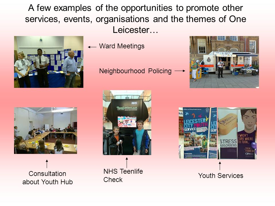 A few examples of the opportunities to promote other services, events, organisations and the themes of One Leicester… Ward Meetings Neighbourhood Policing Consultation about Youth Hub NHS Teenlife Check Youth Services