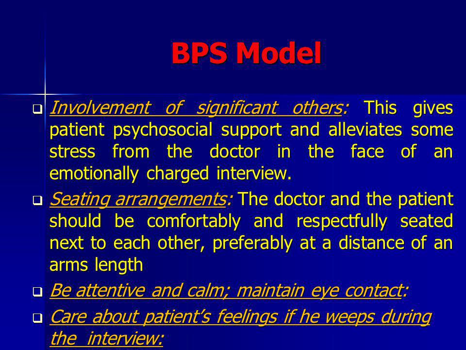 BPS Model Listening mode: Silence and repetition of last few words that the patient has said, are two communication skills that will send across the message that you are listening well.