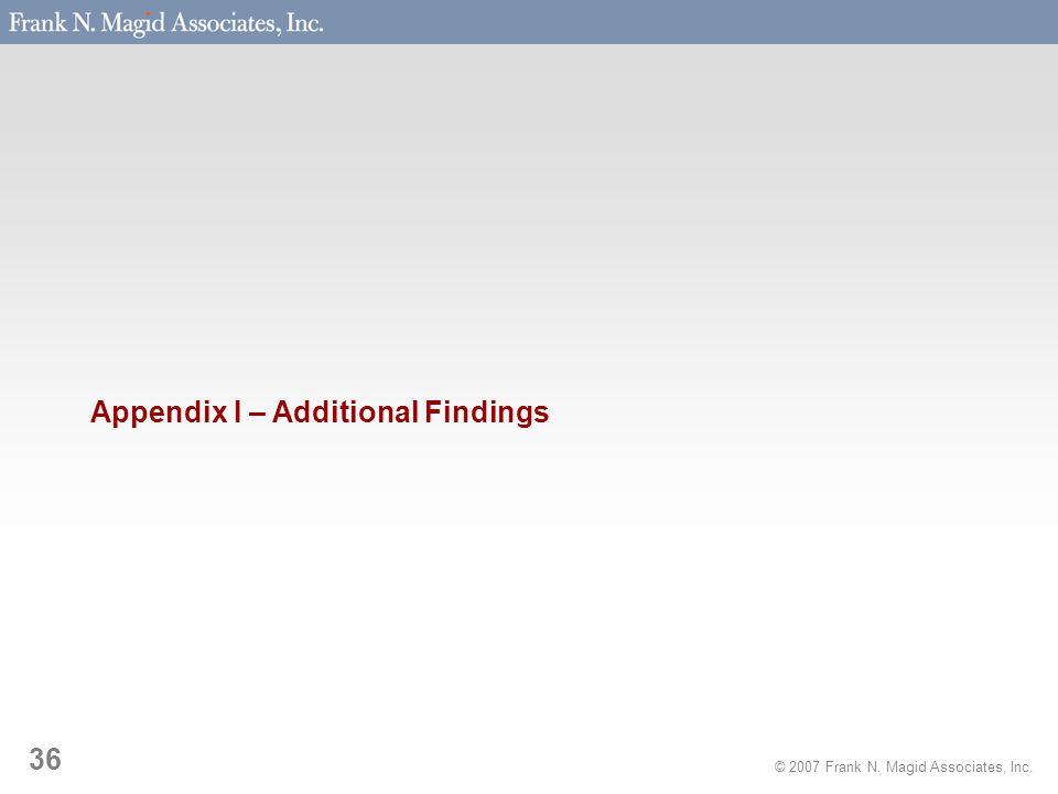 © 2007 Frank N. Magid Associates, Inc. 36 Appendix I – Additional Findings
