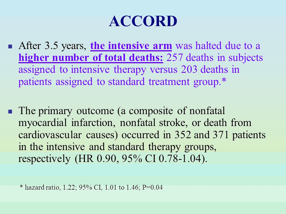 After 3.5 years, the intensive arm was halted due to a higher number of total deaths: 257 deaths in subjects assigned to intensive therapy versus 203
