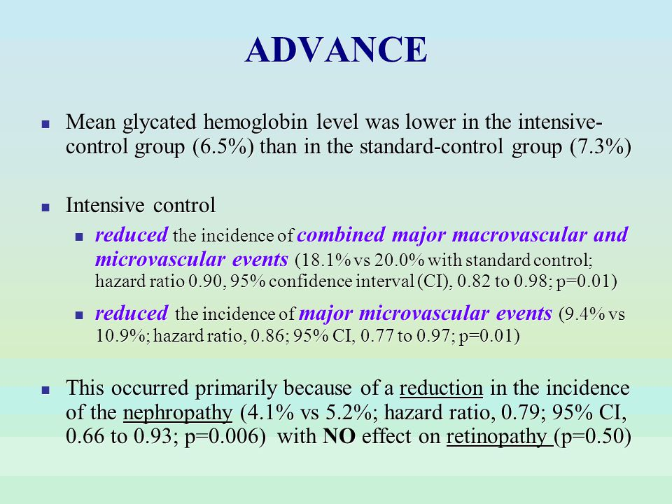 ADVANCE Mean glycated hemoglobin level was lower in the intensive- control group (6.5%) than in the standard-control group (7.3%) Intensive control re