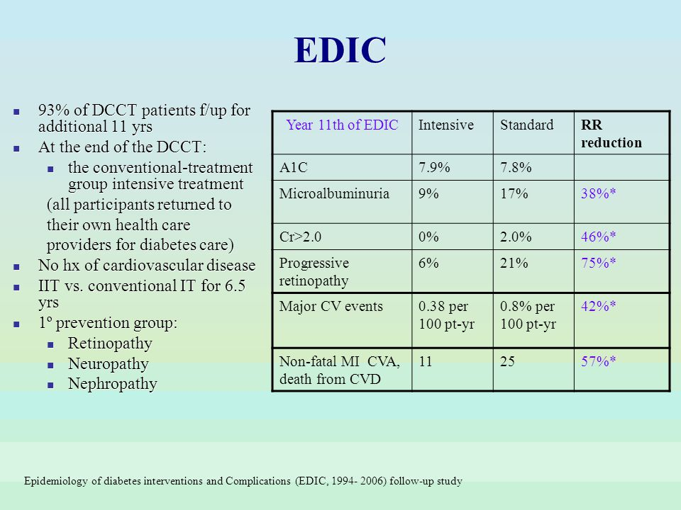 93% of DCCT patients f/up for additional 11 yrs At the end of the DCCT: the conventional-treatment group intensive treatment (all participants returne