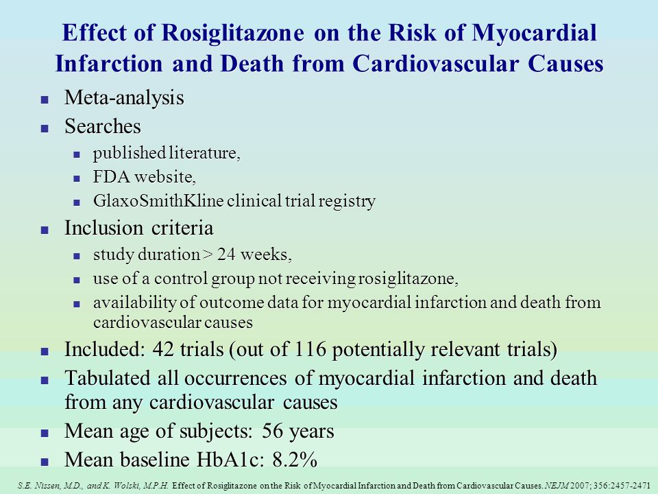 S.E. Nissen, M.D., and K. Wolski, M.P.H. Effect of Rosiglitazone on the Risk of Myocardial Infarction and Death from Cardiovascular Causes. NEJM 2007;