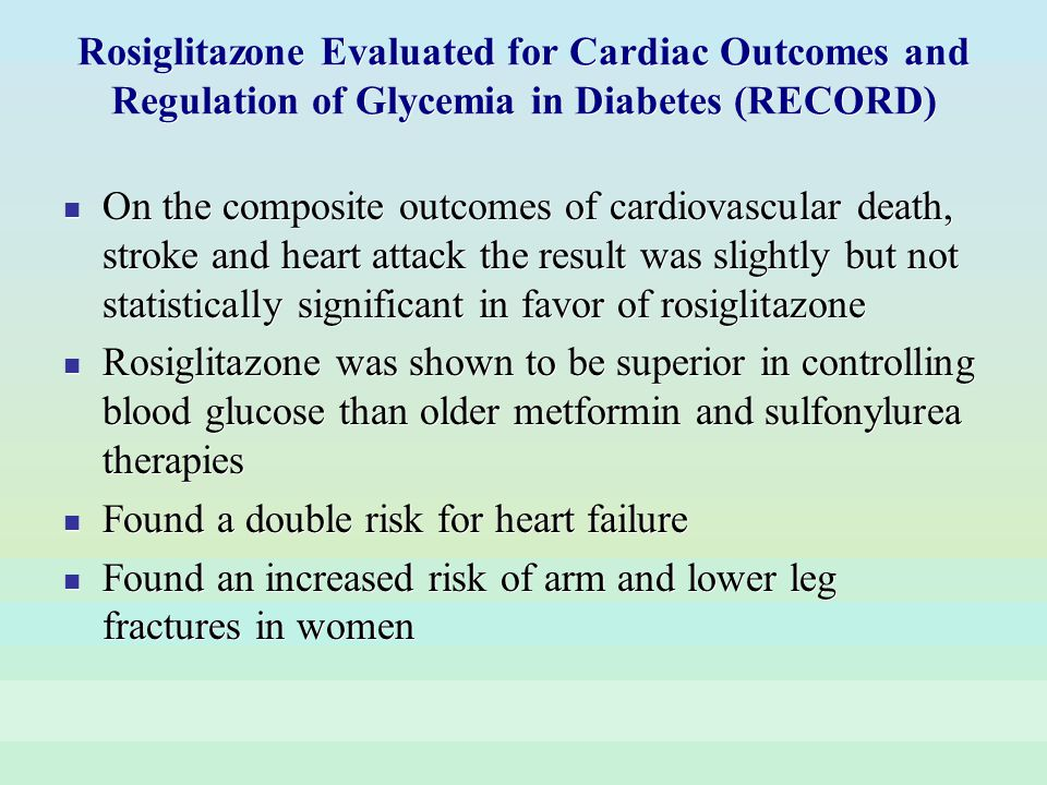 Rosiglitazone Evaluated for Cardiac Outcomes and Regulation of Glycemia in Diabetes (RECORD) On the composite outcomes of cardiovascular death, stroke