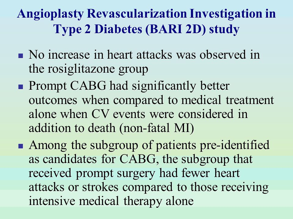 Angioplasty Revascularization Investigation in Type 2 Diabetes (BARI 2D) study No increase in heart attacks was observed in the rosiglitazone group Pr