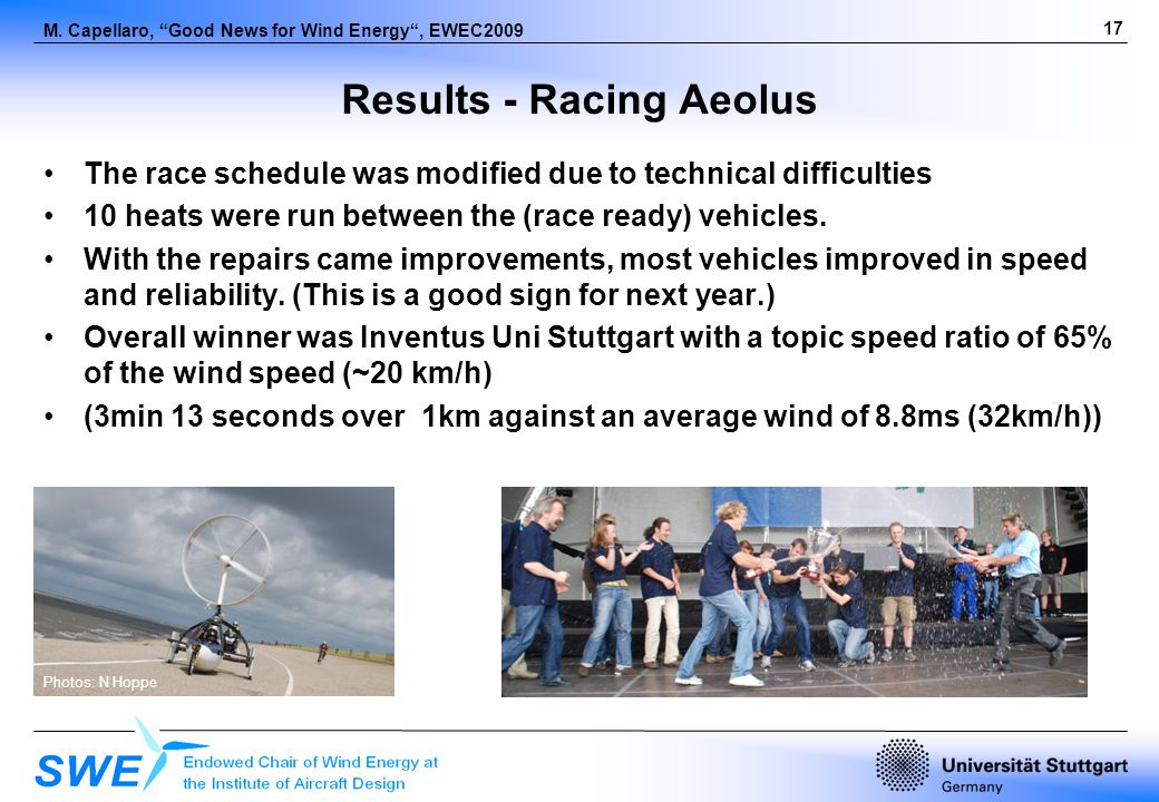 17 M. Capellaro, Good News for Wind Energy, EWEC2009 Results - Racing Aeolus The race schedule was modified due to technical difficulties 10 heats wer