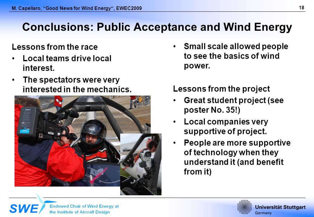18 M. Capellaro, Good News for Wind Energy, EWEC2009 Conclusions: Public Acceptance and Wind Energy Lessons from the race Local teams drive local inte
