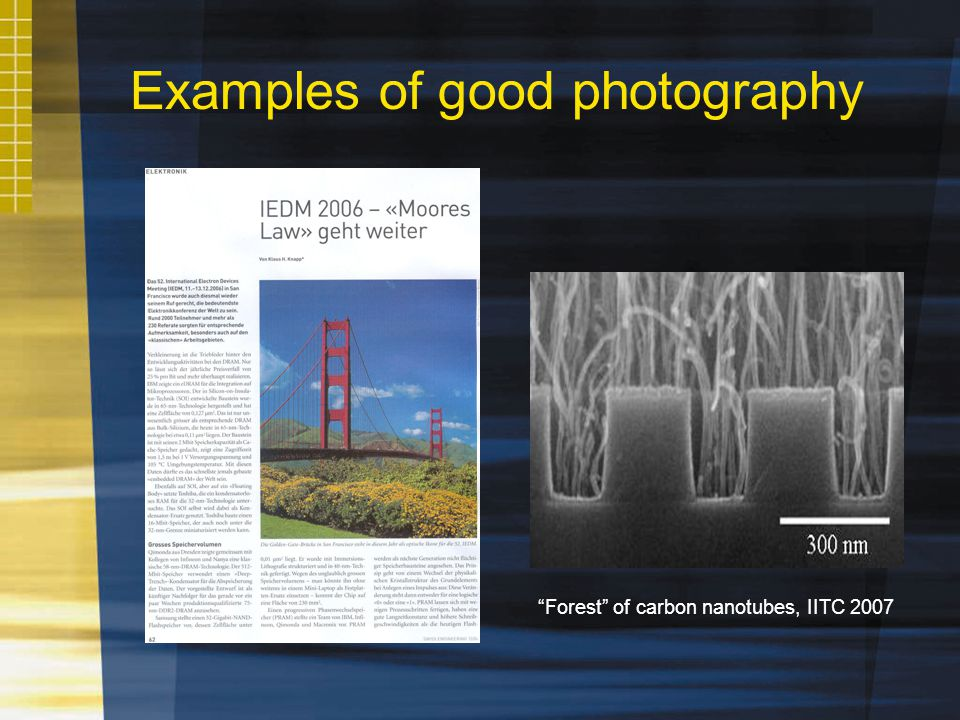 Examples of good photography Forest of carbon nanotubes, IITC 2007