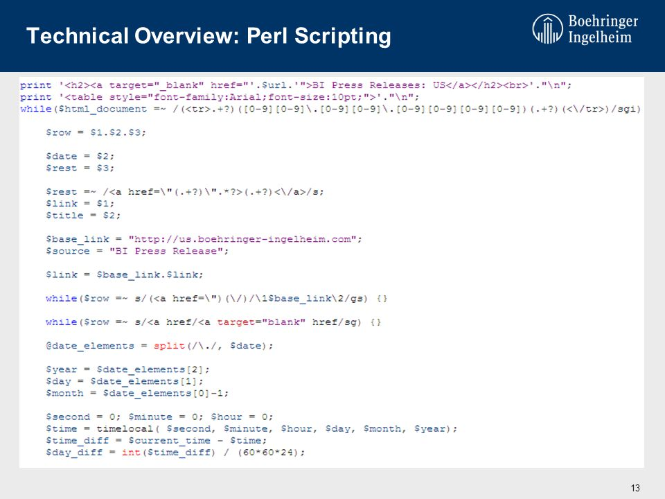 Technical Overview: Perl Scripting 13