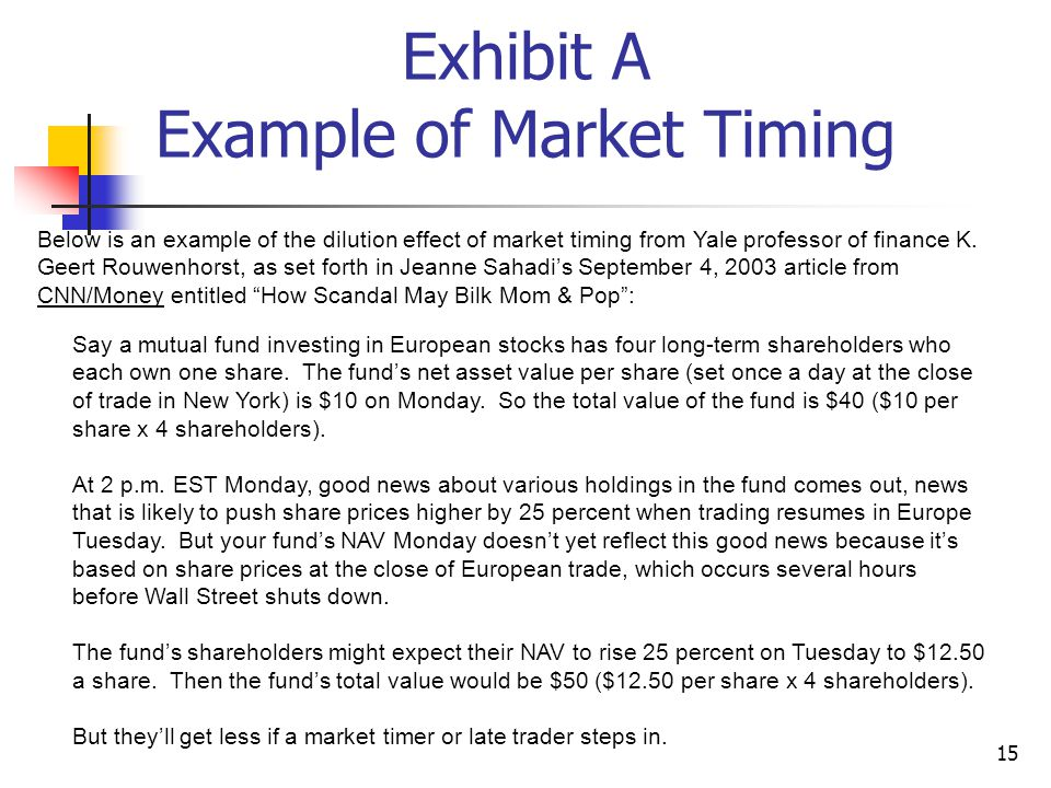 15 Exhibit A Example of Market Timing Below is an example of the dilution effect of market timing from Yale professor of finance K.