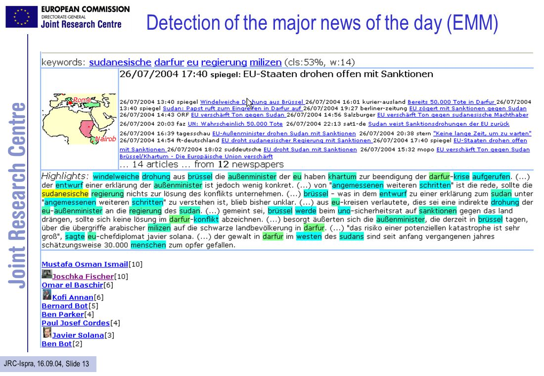 JRC-Ispra, 16.09.04, Slide 13 Detection of the major news of the day (EMM)