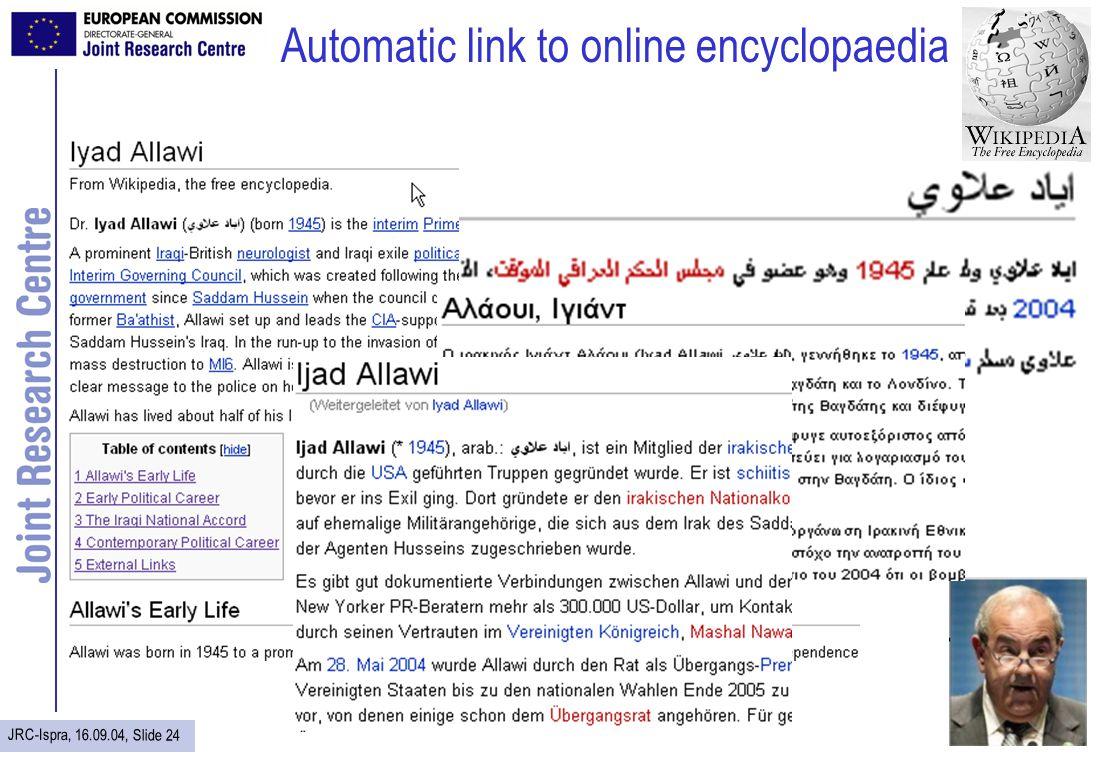 JRC-Ispra, 16.09.04, Slide 24 Automatic link to online encyclopaedia
