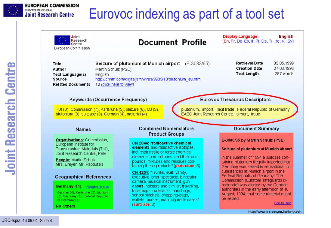 JRC-Ispra, 16.09.04, Slide 15 Establish links to related news in other languages