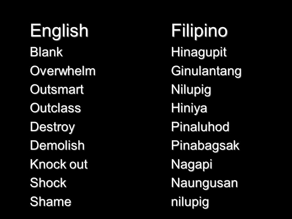 EnglishBlankOverwhelmOutsmartOutclassDestroyDemolish Knock out ShockShameFilipinoHinagupitGinulantangNilupigHiniyaPinaluhodPinabagsakNagapiNaungusannilupig