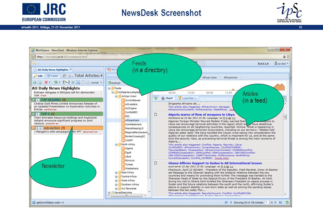eHealth 2011, Málaga, 21-23 November 201119 NewsDesk Screenshot Feeds (in a directory) Articles (in a feed) Newsletter
