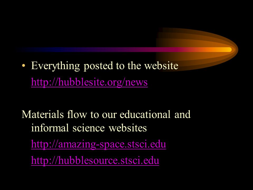 Fast Facts –Specific information about the object/target and the data, such as proposal number, science instrument, exposure date(s), filters for observation(s), image compass for orientation on the sky, and a list of science team members Fast Facts Technical information About the Data Data Description: The datasets used for these results are from the HST programs: 9425 and 9583: Great Observatories Origins Deep Survey (GOODS) 9352: A Riess (STScI), J.