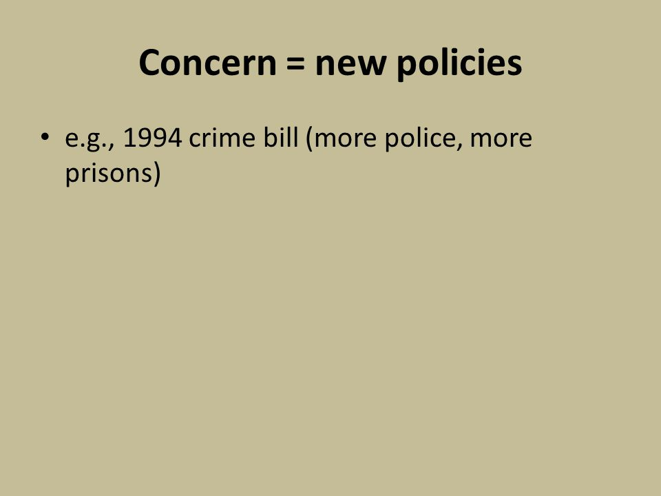 Concern = new policies e.g., 1994 crime bill (more police, more prisons)