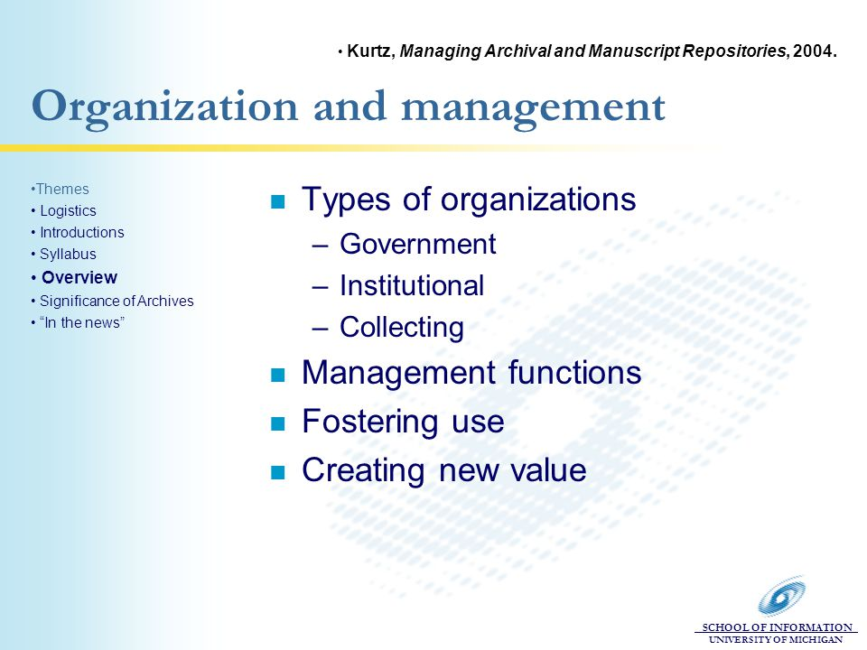 SCHOOL OF INFORMATION UNIVERSITY OF MICHIGAN Organization and management n Types of organizations –Government –Institutional –Collecting n Management functions n Fostering use n Creating new value Themes Logistics Introductions Syllabus Overview Significance of Archives In the news Kurtz, Managing Archival and Manuscript Repositories, 2004.