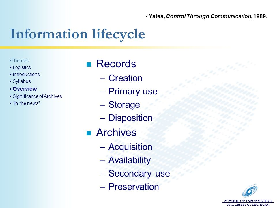 SCHOOL OF INFORMATION UNIVERSITY OF MICHIGAN Information lifecycle n Records –Creation –Primary use –Storage –Disposition n Archives –Acquisition –Availability –Secondary use –Preservation Themes Logistics Introductions Syllabus Overview Significance of Archives In the news Yates, Control Through Communication, 1989.