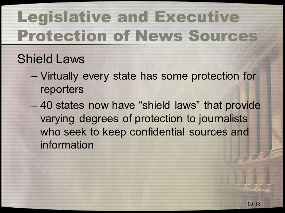 10-18 Legislative and Executive Protection of News Sources Shield Laws –Virtually every state has some protection for reporters –40 states now have shield laws that provide varying degrees of protection to journalists who seek to keep confidential sources and information