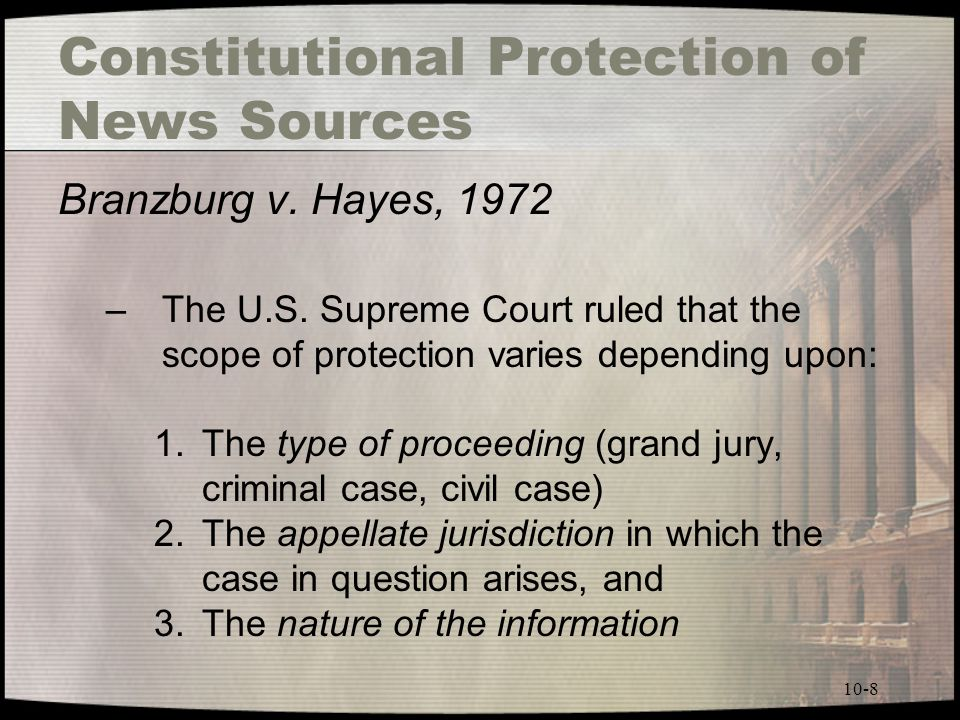 10-8 Constitutional Protection of News Sources Branzburg v.