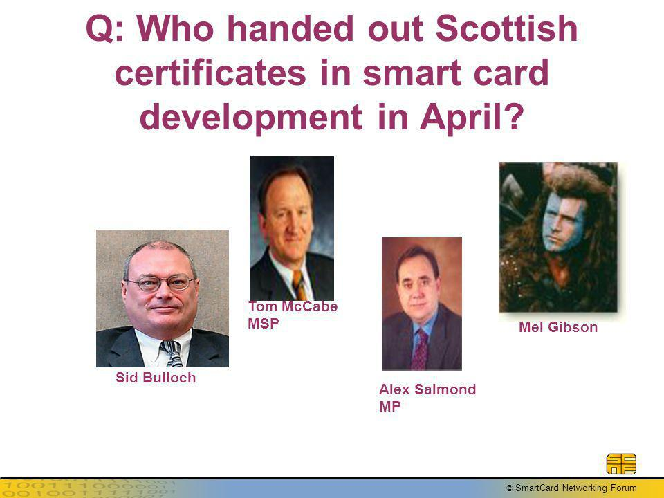 © SmartCard Networking Forum Q: Who handed out Scottish certificates in smart card development in April.