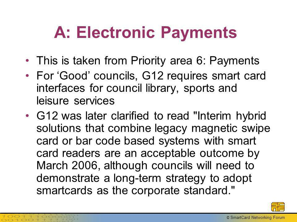 © SmartCard Networking Forum A: Electronic Payments This is taken from Priority area 6: Payments For Good councils, G12 requires smart card interfaces