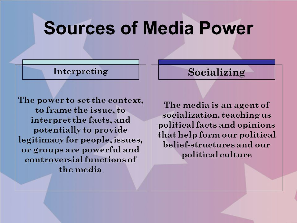 Interpreting The power to set the context, to frame the issue, to interpret the facts, and potentially to provide legitimacy for people, issues, or gr