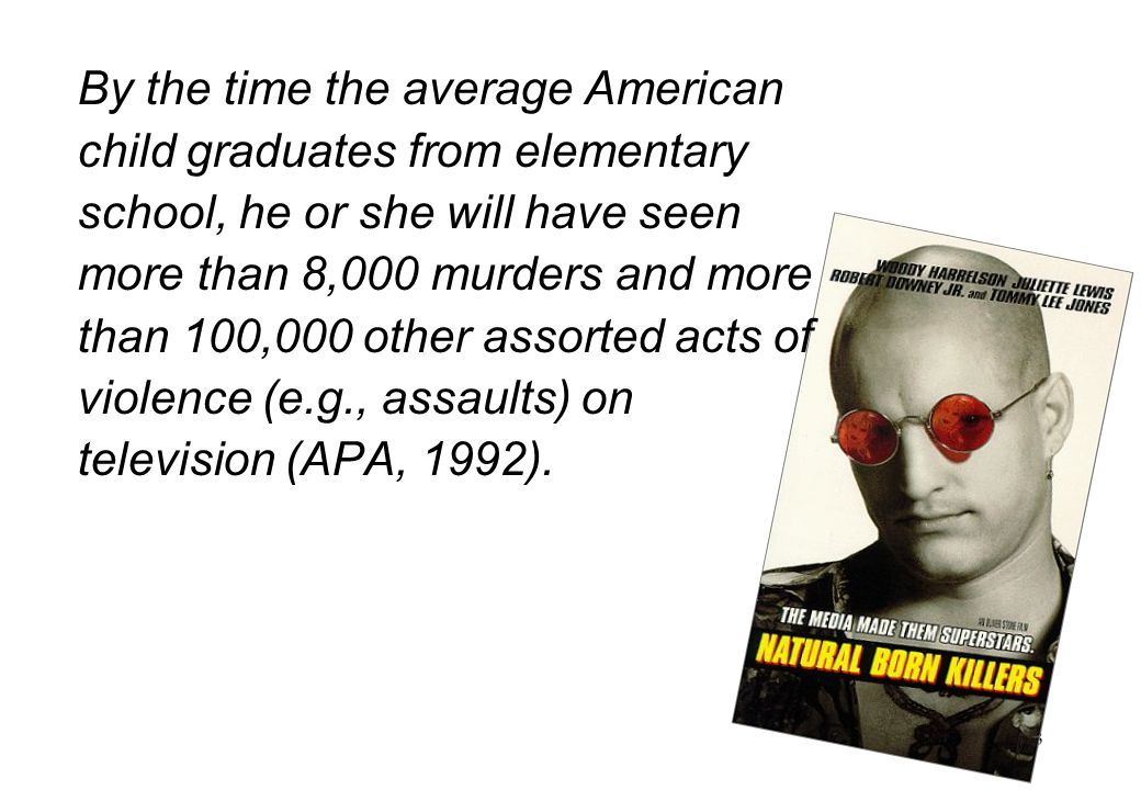 4 National TV Violence Study (1996-1998) 8,000 hrs of TV analysed 60% of programmes were violent.
