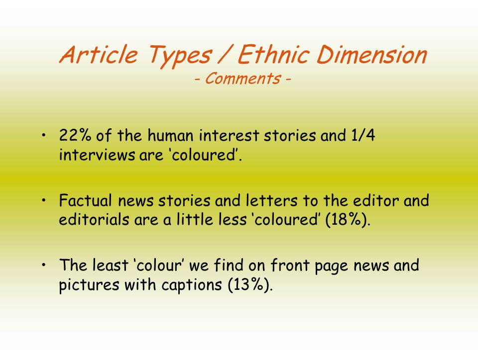 22% of the human interest stories and 1/4 interviews are coloured.