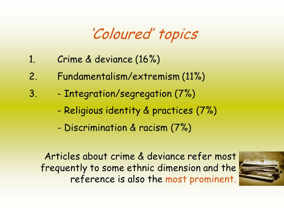 Coloured topics 1. Crime & deviance (16%) 2. Fundamentalism/extremism (11%) 3.