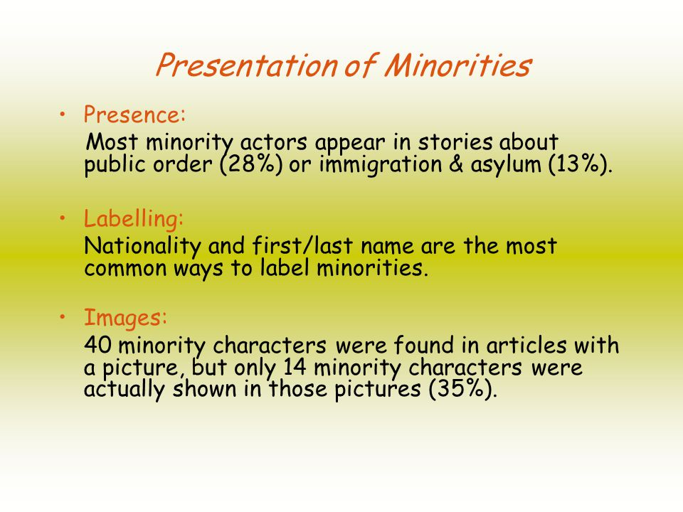 Presentation of Minorities Presence: Most minority actors appear in stories about public order (28%) or immigration & asylum (13%).