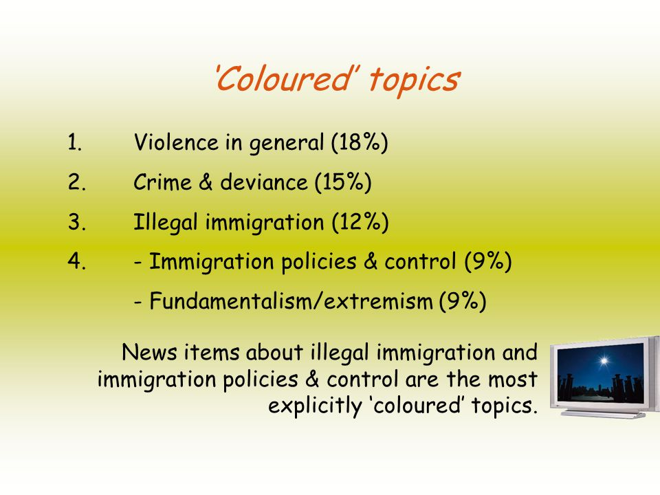 Coloured topics 1. Violence in general (18%) 2. Crime & deviance (15%) 3.