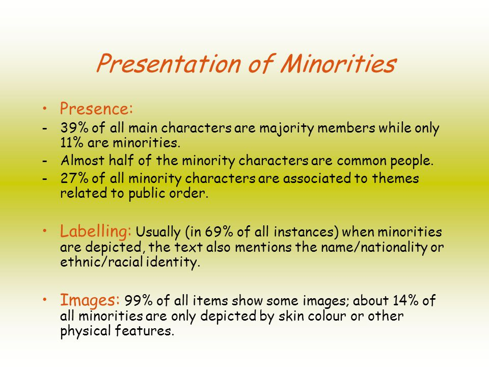 Presentation of Minorities Presence: - 39% of all main characters are majority members while only 11% are minorities.