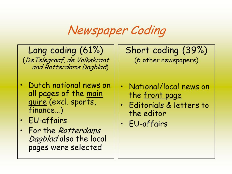 Newspaper Coding Long coding (61%) (DeTelegraaf, de Volkskrant and Rotterdams Dagblad) Dutch national news on all pages of the main quire (excl.
