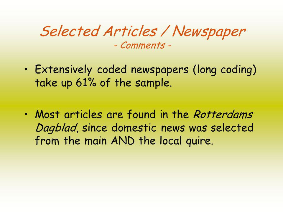 Article Types - Facts & Figures - The most current article types are news stories and front page stories; Feature articles and special issue reports are hardly present (5%).