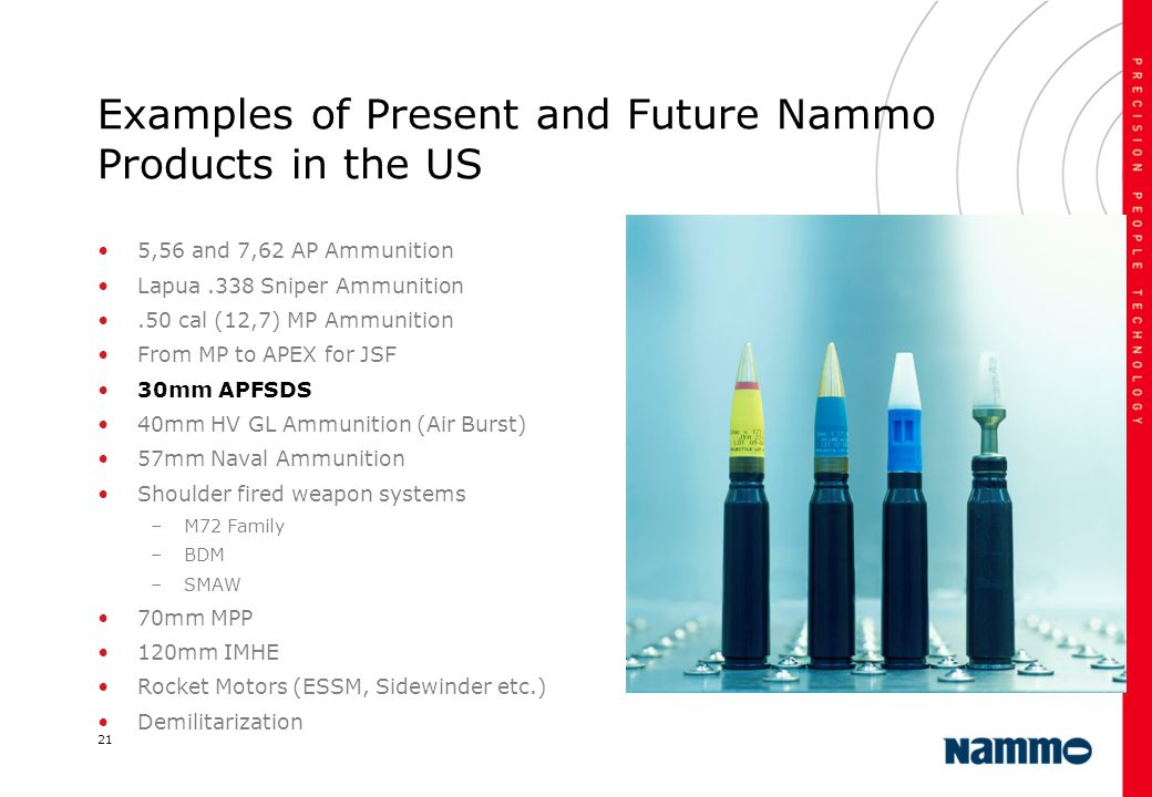 21 Examples of Present and Future Nammo Products in the US 5,56 and 7,62 AP Ammunition Lapua.338 Sniper Ammunition.50 cal (12,7) MP Ammunition From MP