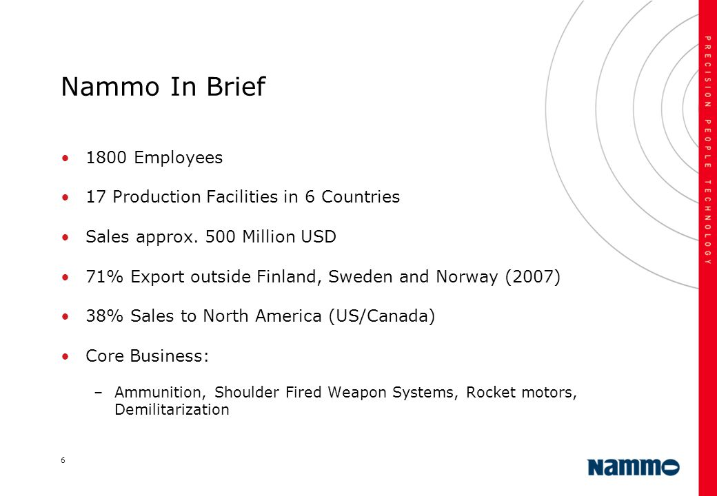 6 Nammo In Brief 1800 Employees 17 Production Facilities in 6 Countries Sales approx. 500 Million USD 71% Export outside Finland, Sweden and Norway (2