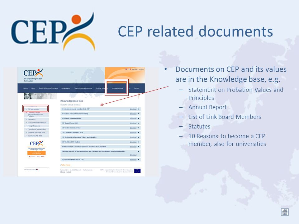 CEP related documents Documents on CEP and its values are in the Knowledge base, e.g.