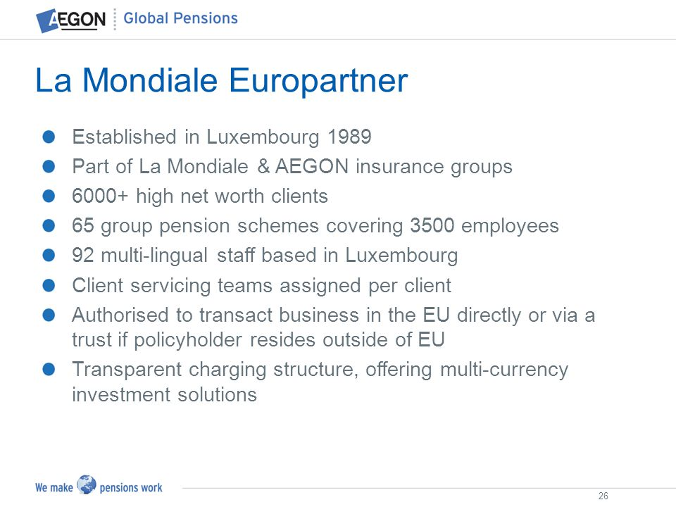 26 Established in Luxembourg 1989 Part of La Mondiale & AEGON insurance groups 6000+ high net worth clients 65 group pension schemes covering 3500 emp