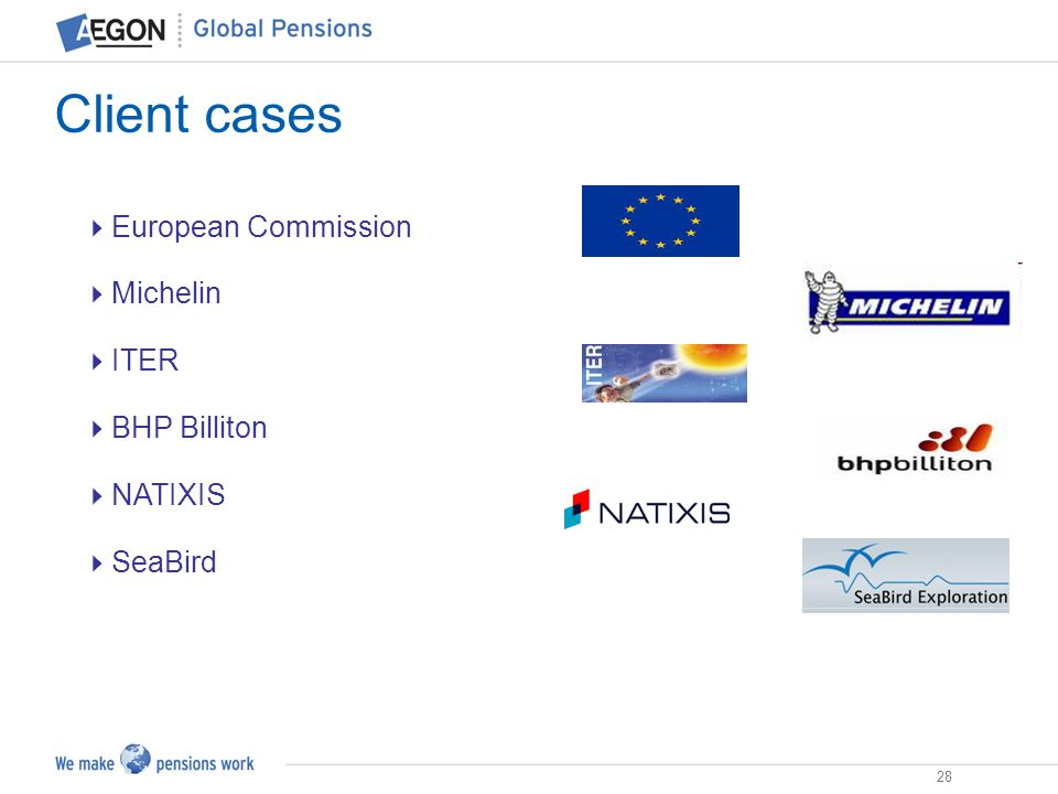 28 European Commission Michelin ITER BHP Billiton NATIXIS SeaBird Client cases